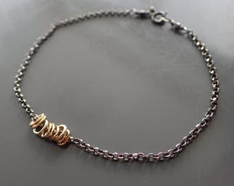 Mixed Metal Delicate Gold Silver Bracelet, Oxidized Sterling Two Tone Bracelet, Random, Kinetic, Dainty, Loop,Tiny,Haphazard,Boho,Minimalist