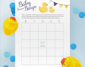 Bingo Game for Baby Shower - Rubber Duck Theme - Instant Printable Download