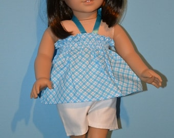 American Made Summer Mock Smocked Top fits 18 Inch Girl Dolls -White Shorts-Teal Clog Sandals Optional-Fun in the Sun Summer Doll Clothes!
