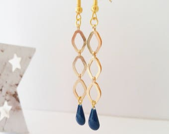 Earrings chic dark blue and gold