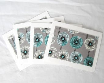 Blank notecards, Notecard set, fabric notecards, gray fans, set of 8