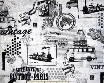 Vintage Scrapbook Fabric - Paris France French Collage - Benartex Contempo YARD