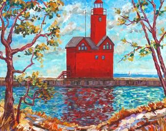ORIGINAL Painting, Big Red, Holland Michigan, Holland State Park, Ottawa Beach, Sand Dunes