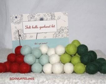 Chirstmas Felt Pom-Poms // 9ft Felt balls Garland Kit, Felt Balls, Craft Supplies, DIY Garland KIT, DIY Kit, Colorful garland, Decor Garland
