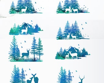 Forest scene clip art, forest illustration, forest silhouette, deer silhouette, pine tree clip art,forest clipart,watercolor clipart