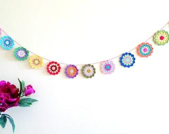 Colorful mandala garland - crochet mandala decor - crochet garland - bohemian garland - colorful garland - bohemian style decor ~43.3 in