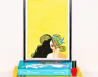 Walking on Sunshine Music Poster, Typography Lyrics, 80s Pop Rock Song Illustration, Eighties Minimalist Art Print, Creative Gift for Her