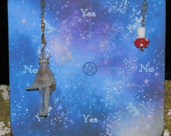 STARRY Pendulum DIVINATION ANSWER Board, Handmade,  Yes, No, Maybe