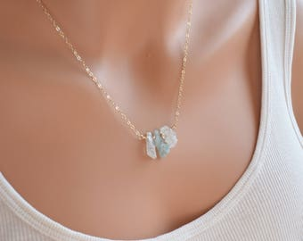Raw Aquamarine Necklace, Gold Filled, Natural Gemstone Jewelry, Rough Nugget, March Birth Stone, Birthday Gift, Free Shipping