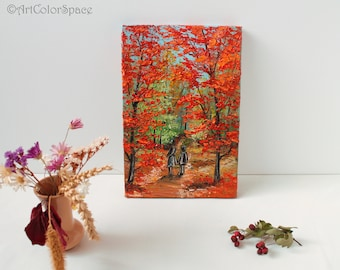 Couple on canvas Autumn art painting Love canvas Valentines day Fall decor Walk in the Autumn Forest painting Autumn decor Fall art painting