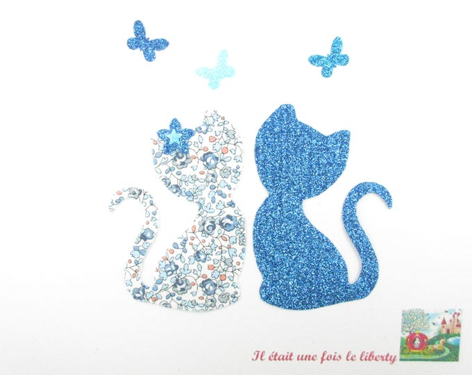 Applied fusing cats in love liberty Eloise flex blue sequined patch iron on applique liberty pattern cat badges