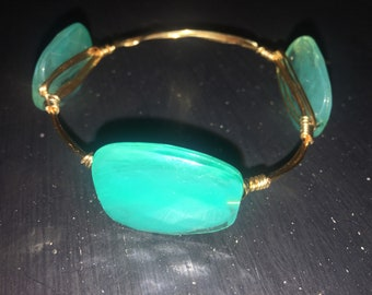 Turquoise and clear bead wire bangle