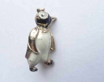 Vintage Black, White & Gold Tone Penguin Pin