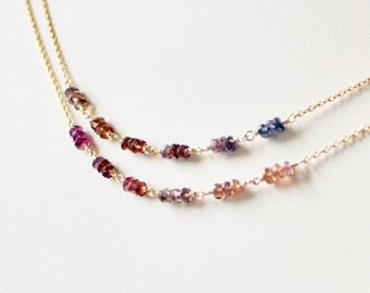 Multi spinel and gold filled necklace, long gold necklace, multi colored gemstone necklace