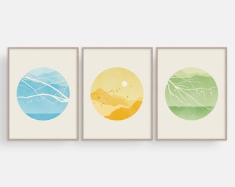 Scandinavian Print Set of 3, Mid Century Modern Wall Art, Nature Prints, Wall Decor Living Room, Wall Art Prints Set Bedroom Large 3 Piece