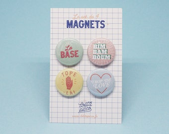 Set of 4 magnets french expression pastel color