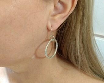 Silver Hoop Earrings Hammered Silver Hoop Earrings Shiny Hoop Earrings Shiny Silver Hoops Texturized Silver Minimalist Earrings