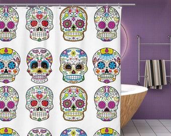 """Sugar Skull Shower Curtain - Mexican Skull Decor - 70"""" x 70"""" Sugar Skull Bathroom Curtain - Multiple Colors - New Skull Bath Decor (NKT1SC)"""