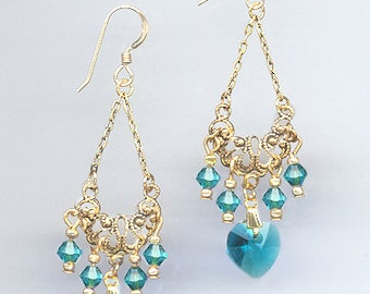 Gold Filigree Earrings Handcrafted with Swarovski TEAL BLUE ZIRCON Crystals and Crystal Hearts - Includes Gift Box