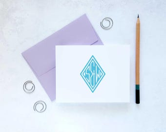 Personalized Stationery | Initial Note Card | Monogram Stationary | Custom Notecards | Monogrammed Thank You Cards | DIAMOND MONOGRAM