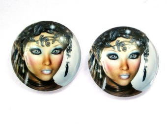 2 x 25 mm - Fairy - fairy cabochons