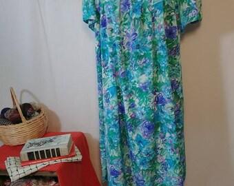 70s/80s Vintage Floral Watercolor Handmade MuuMuu Dress.