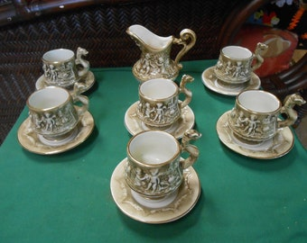 R.Capodimonte Demitasse Set-6 Cups & Saucers and FREE Creamer