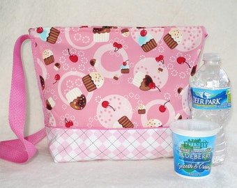 Pink Cupcake Insulated Lunch bag tote sack