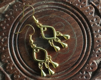 Gold dangle earrings, jewellery, gold plated,  boho, Bohemian, Ethnic, Tribal