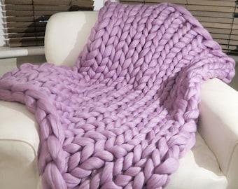 Super Chunky knit blanket 100% Pure Merino Wool Blanket Handmade Throw lavender Extreme knitting chunky knit blanket super bulky throw wool