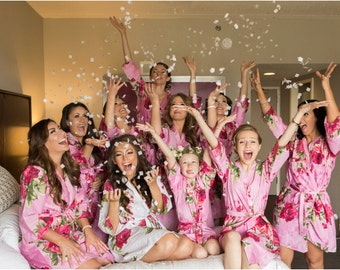 Pink Large Fuchsia Floral Blossom Bridesmaids robes | Kimono Robes Spa Wrap Perfect bridesmaids gift getting ready robes Bridal shower party