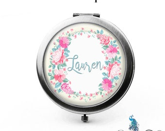 Compact Mirror Pink and Teal Flower Garden Floral Wreath The Lauren Bridesmaid Gifts Cosmetic Mirror Personalized Gifts Birthdays Weddings