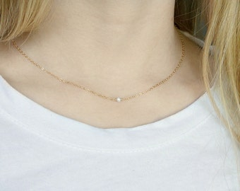 Tiny Pearl Necklace / Floating Single Pearl on a Gold Filled Chain, Dainty Freshwater Pearl Necklace, June Birthstone Necklace, Gift for Her