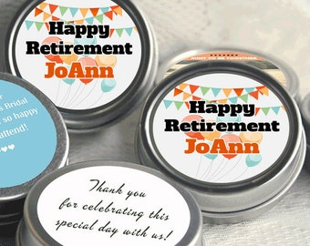 12  Celebration Retirement Mint Tins - RetireMints - Fancy Flags - Retirement Favors - Retirement Decor - Retirement Mints - Retired Mints