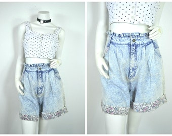 90s blossom light Acid wash denim Ruffle floral shorts