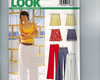 Misses Sewing Pattern New Look 6190 Misses Wide Leg Pants and Pleated or A Line Skirt Size 8 10 12 14 16 18 Bust 34 36 38 40 42 44 UNCUT