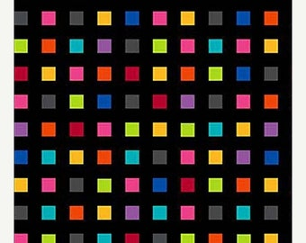 20% off thru Apr 24th COLORWORKS CONCEPTS Northcott by the Half yard cotton quilt fabric multicolor rainbow squares on black 20788-99