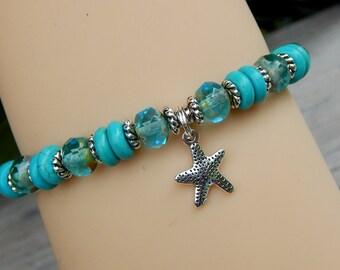 Turquoise Bracelet, Ocean Jewelry, Beach Jewelry, Starfish, Turquoise Blue Jewelry, Beach Bracelet, Ocean Bracelet, Beach, Ocean, Blue