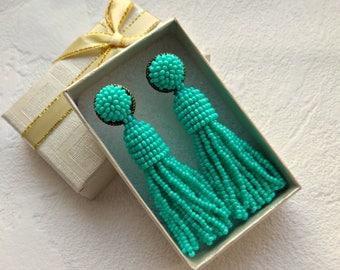 Turquoise tassel earrings, Stud tassel earrings, Long short beaded tassel earrings for women, Boho earrings, Oscar de la Renta earrings