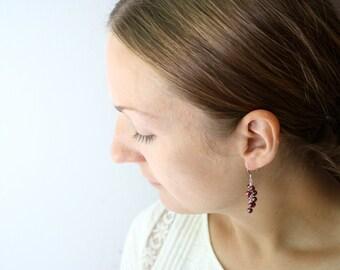 Dark Pink Freshwater Pearl Earrings Dangle . Pearl Cluster Dangle Earrings . Birthstone Jewelry June