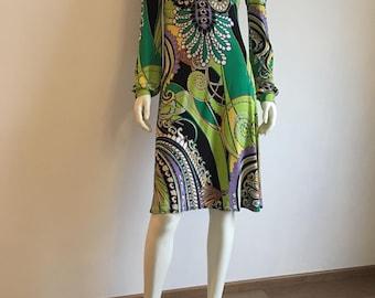 Summer Dress, Green Olive Black, Knee Length, Long Sleeves