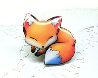Fox brooch fox sleeping pin Animal brooch animal jewelry, fox pup, fox jewelry, clay fox,  clay pin.