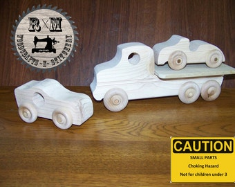 Wood Toy, Wood Tow Truck, Tow Truck and Car Set