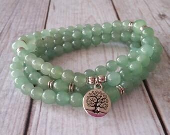 108 Mala Necklace, Green Aventurine Mala, Tree of Life Mala, 108 Beaded Prayer Necklace, 108 Mala Bracelet, 108 Beaded Mala, Tree Mala