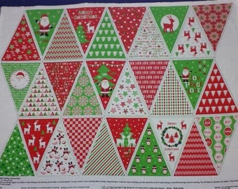 Happy Christmas Bunting Cotton Quilting Panel Fabric