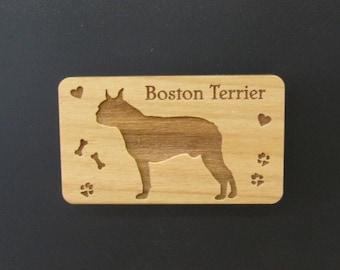 Original Design Boston Terrier Wood Magnet