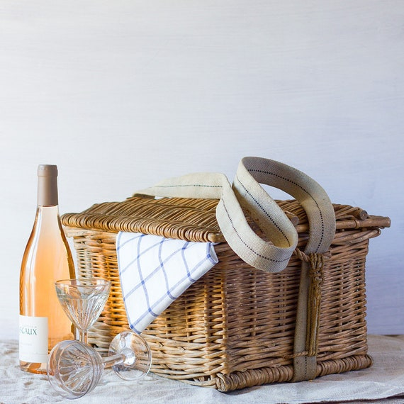 French Picnic Basket with Woven Strap