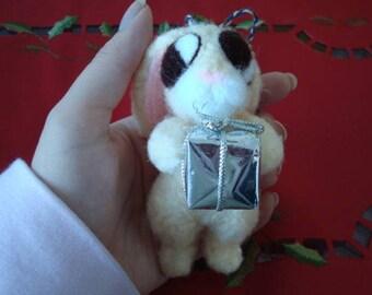 Christmas tree ornament – Needle felted nervous bunny plush – Upcycled