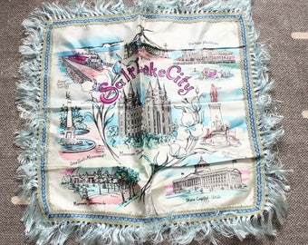 vintage pillow cover . Salt Lake City pillow cover . blue pillow cover with fringe . vintage souvenir pillow cover