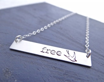 """Free Sterling Silver Bar Necklace. Hand Stamped Jewelry.  Minimalist, Engraved Necklace. Simple Layering Bar Necklace, with """"free"""" and dove."""
